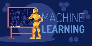 Maszynowego uczenie robota przyglądająca Płaska Wektorowa ilustracja zdjęcia royalty free