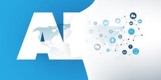 Maszynowego uczenie, Sztucznej inteligencji, Cloud Computing i IoT sieci projekta pojęcie, zdjęcie royalty free