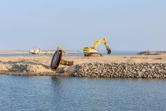 Maszyny ciężkie dla budowy markiera Wadden wyspy Obraz Stock