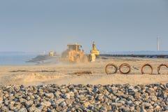 Maszyny ciężkie dla budowy markiera Wadden wyspy Fotografia Royalty Free