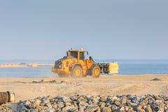 Maszyny ciężkie dla budowy markiera Wadden wyspy Obrazy Royalty Free