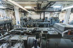 Maszyny ciężkie na pokładzie przemysłowego statku Fotografia Royalty Free