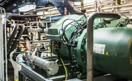 Maszyny ciężkie na pokładzie przemysłowego statku Zdjęcie Royalty Free
