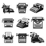 Maszyny do pisania ikony set, prosty styl royalty ilustracja