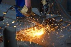 maszyny szlifierskiej sparks metali Fotografia Stock