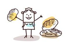Matåterförsäljare - bagare och bröd stock illustrationer