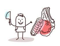 Matåterförsäljare - slaktare och kött vektor illustrationer
