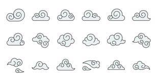A matéria prima chinesa do ícone da nuvem para o uso, encheu o esboço editável ilustração royalty free
