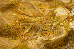 Matéria têxtil amarela. foto de stock royalty free
