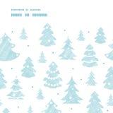 Matéria têxtil decorada azul das silhuetas das árvores de Natal Fotos de Stock Royalty Free