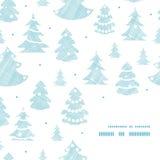 Matéria têxtil decorada azul das silhuetas das árvores de Natal Imagens de Stock Royalty Free