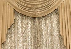 Matéria têxtil do fundo da cortina de Brown, casa, cortina, decoração fotografia de stock