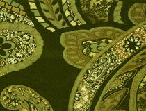 Matéria têxtil do teste padrão do verde de Paisley Fotografia de Stock