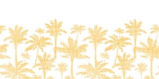 Matéria têxtil dourada das palmeiras do vetor horizontal Fotografia de Stock Royalty Free