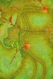 Matéria têxtil, flores na ardência Fotos de Stock Royalty Free