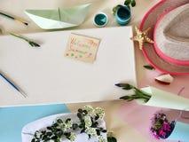 Matériaux d'art, bouquets des fleurs sur un fond clair, vue supérieure images stock