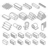 Matériaux de construction de bâtiments pour les icônes isométriques de vecteur de réparation illustration stock