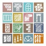 Matériaux de construction et de finissage, icônes, crayon d'ombrage, blanc, couleur, vecteur illustration libre de droits