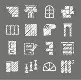 Matériaux de construction et de finissage, icônes, crayon d'ombrage, blanc, vecteur illustration libre de droits