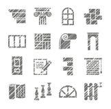Matériaux de construction et de finissage, icônes, crayon d'ombrage, vecteur illustration stock