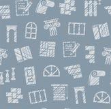 Matériaux de finissage, construction, modèle sans couture, crayon hachant, bleu, couleur, vecteur illustration stock