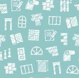 Matériaux de finissage, construction, modèle sans couture, crayon hachant, bleu, vecteur illustration de vecteur