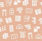 Matériaux de finissage, construction, modèle sans couture, crayon hachant, brun de rose, vecteur illustration stock