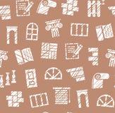 Matériaux de finissage, construction, modèle sans couture, crayon hachant, brun, vecteur illustration stock