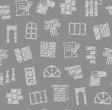 Matériaux de finissage, construction, modèle sans couture, crayon hachant, gris, couleur, vecteur illustration libre de droits