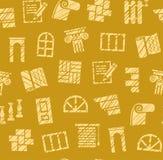 Matériaux de finissage, construction, modèle sans couture, crayon hachant, moutarde, colorée, vecteur illustration libre de droits