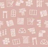 Matériaux de finissage, construction, modèle sans couture, crayon hachant, rose, couleur, vecteur illustration libre de droits