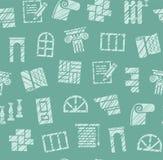 Matériaux de finissage, construction, modèle sans couture, crayon hachant, vert, couleur, vecteur illustration stock