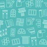 Matériaux de finissage, construction, modèle sans couture, dessin d'ensemble, bleu-vert, couleur, vecteur illustration libre de droits