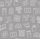 Matériaux de finissage, construction, modèle sans couture, dessin d'ensemble, gris-foncé, couleur, vecteur illustration stock