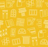 Matériaux de finissage, construction, modèle sans couture, dessin d'ensemble, jaune, couleur, vecteur illustration stock