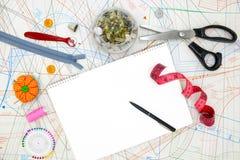 Matériaux et outils pour la couture photo stock