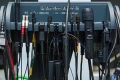 Matériel électrique à la station service de voiture photographie stock