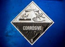 Matériel corrosif au récipient acide Photographie stock
