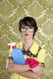 Matériel de corvées de nettoyage de ballot de femme au foyer rétro Photographie stock libre de droits
