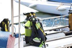Matériel de plongée sur un bateau Photo libre de droits