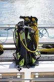 Matériel de plongée sur un bateau Photographie stock