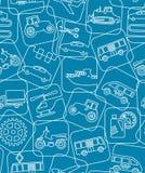Matériel de transport et de construction, fond bleu, sans couture, dessin de découpe Photos stock