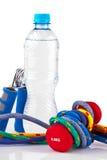 Matériel et eau de forme physique Photo libre de droits