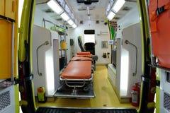 Matériel pour des ambulances. Vue de l'intérieur. Image stock