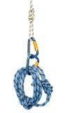 Matériel s'élevant - carabiners et corde bleue Photographie stock libre de droits