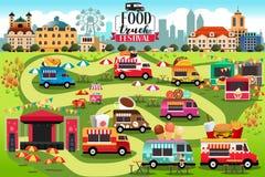 Mat åker lastbil festivalöversikten stock illustrationer