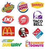 Mat beviljar franchise logosamlingen royaltyfri illustrationer