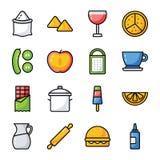 Mat, drinken och köksgerådet packar royaltyfri illustrationer