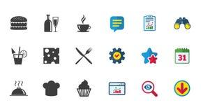 Mat drinksymboler Kaffe- och hamburgaretecken Royaltyfri Foto