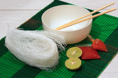 Mat with dry rice vermicelli noodles. Dry rice vermicelli noodles on mat Stock Photography